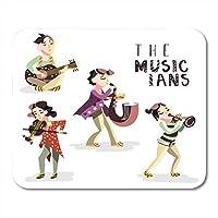 マウスパッド子供ミュージシャン楽器キッズギターバイオリンサックストランペットグラフィック現代芸術マウスパッドノートブック用、デスクトップコンピューターオフィス用品