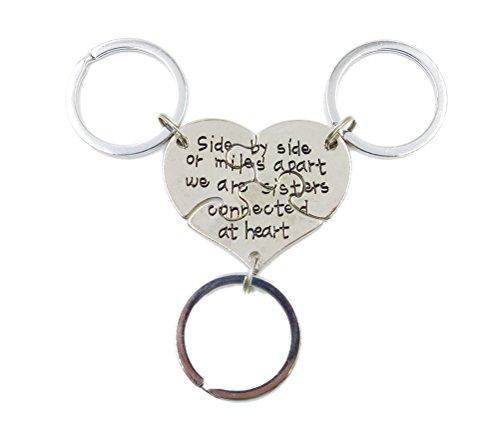 Charm.L Grace 3 Piece of Sisters Keychain Set Heart Shape Puzzle Pendant