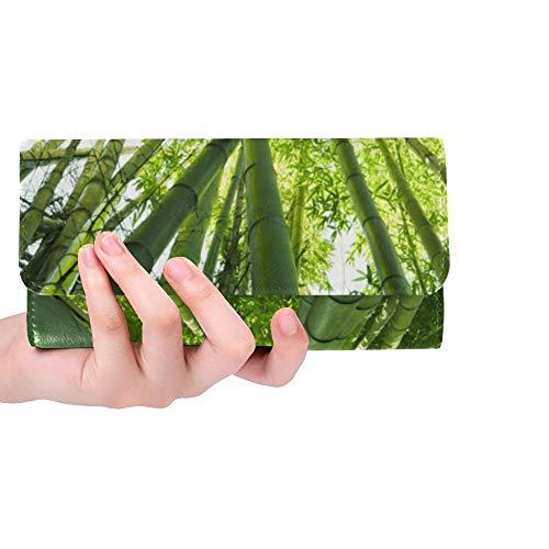 Monedero con Bloqueo de RFID Monedero Cartera de Embrague Monedero de Hojas de Bosque de bambú Verde Tarjeteros Cartera de Cuero Triple Cartera de Embrague Larga Cartera de Tarjeta de crédito Estuche