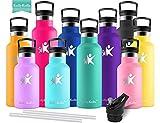KollyKolla Botella de Agua Acero Inoxidable, Termo Sin BPA Ecológica Reutilizable, Botella Termica con Pajita y Filtro, Water Bottle para Niños & Adultos, Deporte, Oficina, Yoga, (500ml Esmeralda)