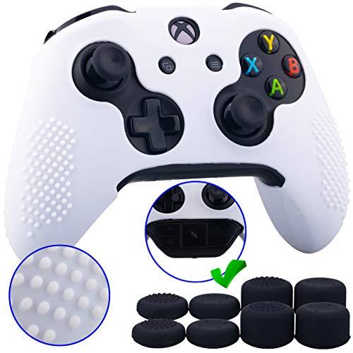 9CDeer 1 Pezzo di Costellato Protettivo Silicone Copertina Pelle Manica Caso Skin Cover Case 8 Thumb Grips Prese del Pollice Cappucci Analogici per Controller Xbox One/S/X bianca