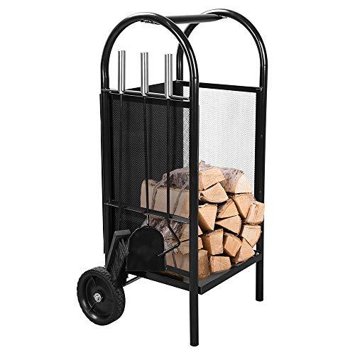 Carretilla para la chimenea Con escoba, pala de fresno, gancho de hierro Transporte de madera Tubo de acero (XL)