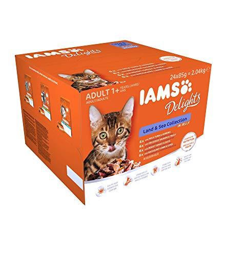Iams Delights Land & Sea Collection Katzenfutter Nass - Multipack mit Fleisch und Fisch Sorten in Gelee, Nassfutter für Katzen ab 1 Jahr, versch. 24 x 85g