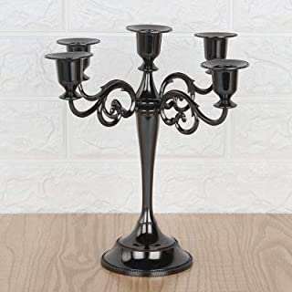 MoGist Metal Candelabra Baroque Style Candlestick 3 or 5-Armed Candle Stand Candle Holder Candleholders 5-arms Candelabra Chandeliers (Black)