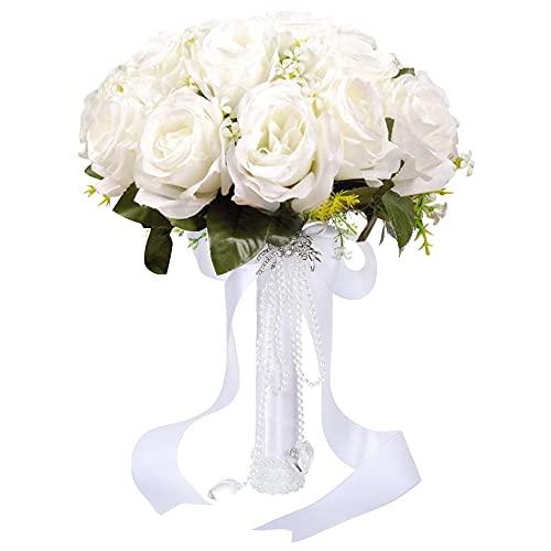 Brautstrauss Hochzeit Blumenstrauß Koreanischen Stil weiß Gefälschte Rose Braut Bouquet Blume Brautstrauss Blumenstrauß Hochzeit Künstlich Blume mit Strass für Hochzeit, Fotoshooting