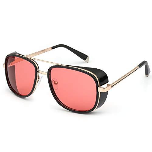 ZLUCKHY Gafas De Sol De Moda Gafas De Sol Cuadradas Hombres Gafas De Sol Retro Masculino Diseño Elegante,A