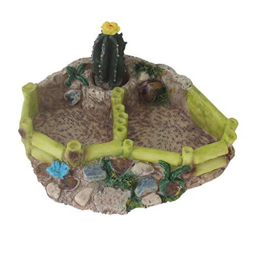 Emours - Fuente de Agua para Reptil, Anfibio, Tortuga, Lagarto, Rana, comedero de Cactus, Cuenco de Esquina con rampa Grande