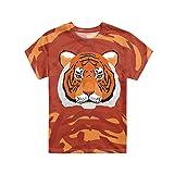 HUGS IDEA Camiseta con Cuello Redondo para NiñOs, SuéTer Estampado con Estampado De Tigre Fresco Animal De Dibujos Animados Tops De Manga Corta Talla De Ropa 9-10