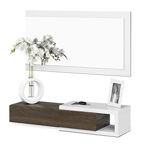 Habitdesign 0E6743BO – Mobili da Ingresso con cassetto e Specchio, mobili d'ingresso Modello Noon, Rifinito in Bianco Brillante e Toscana, 95 cm (Larghezza) x 19 cm (Altezza) x 26 cm (profondità)