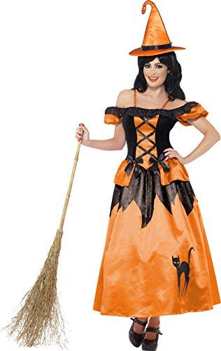 Smiffys Déguisement Femme Sorcière, Robe et Chapeau, Legends of Evil, Taille 36-38, Couleur: Orange et noir, 33272