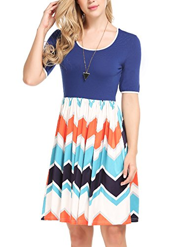 Beyove - Vestito a pieghe da donna, linea A, con scollo a O, mezza manica Blu XL
