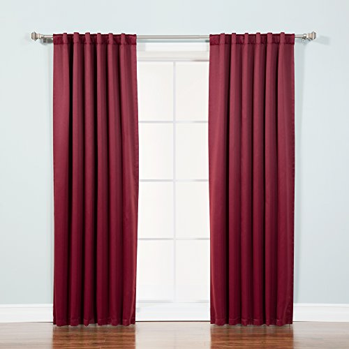 "Best Home Fashion Thermal Insulated Blackout Curtains - Back Tab/Rod Pocket - Burgundy - 52"" W x 96"" L - (Set of 2 Panels)"
