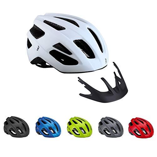 BBB Cycling Casco de Seguridad para Bicicleta de Carretera y montaña, con mosquiteras, Visera Ligera y Desmontable, Certificado CE, para Hombre y Mujer, Talla S (52-55 cm), Color Blanco Mate 2.0