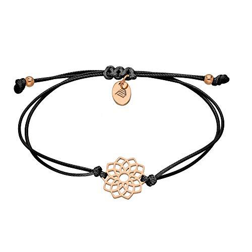 Max Palmer Armband mit Anhänger Blume der Fruchtbarkeit [03.] - Band: schwarz | Anhänger: Rosegold