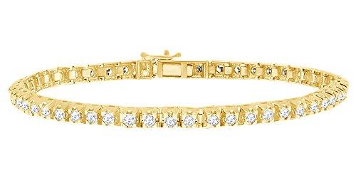Bracciale tennis in oro massiccio 14 kt con diamanti naturali bianchi a taglio rotondo (5 cttw) e Oro giallo, colore: Giallo, cod. MNo-UK-CMB28046-YG-8.5