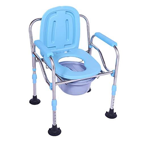 Commode Chair Klappbare leichte Toilette, Rutschfester, höhenverstellbarer Bad-Toilettenstuhl - mit Töpfchen, großem Saugnapf