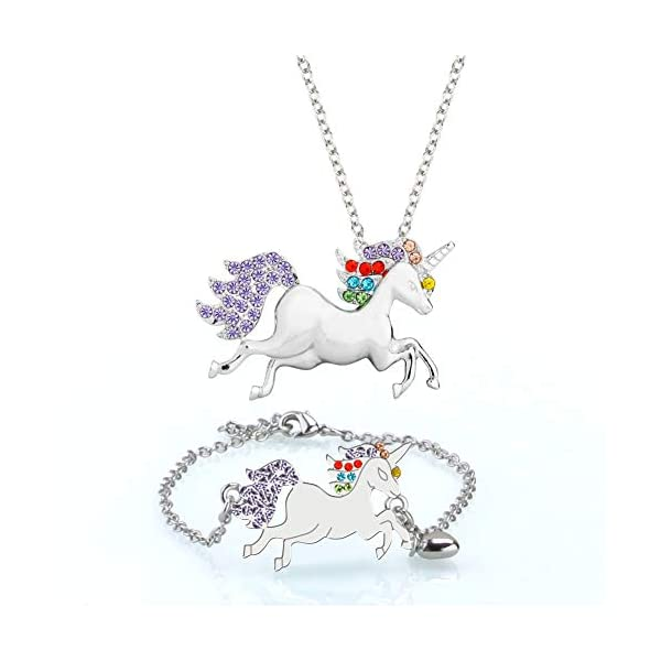 Musical Jewelry Box for Little Girls with 3 Drawers and Jewelry Set with Spinning Unicorn and Rainbow Butterfly Design… 8