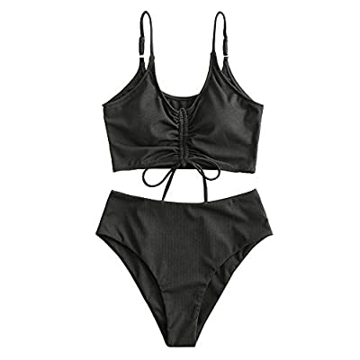 ZAFUL Women's Ribbed Cinched Tie Front Cami High Waisted Tankini Swimsuit (A-Black, L)
