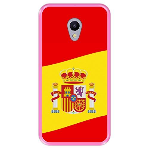 Hapdey silikon Hülle für [ Meizu M5s ] Design [ Illustrationssymbol 2, Flagge von Spanien ] Rosa Flexibles TPU
