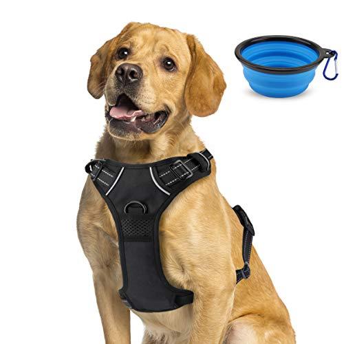 morpilot Hundegeschirr No-Pull atmungsaktiv Brustgeschirr für Hunde, 3M Reflektierender Leichter Nylon-Hundegeschirr mit gepolsterter Weste, Mittel/Groß/XL Hundegeschirr mit Hundenapf