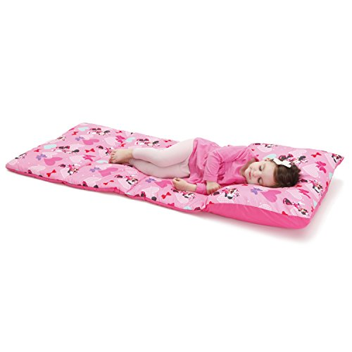 Disney Minnie Mouse Padded Toddler Easy Fold Nap Mat With Attached Pillow Case - Pink,Aqua