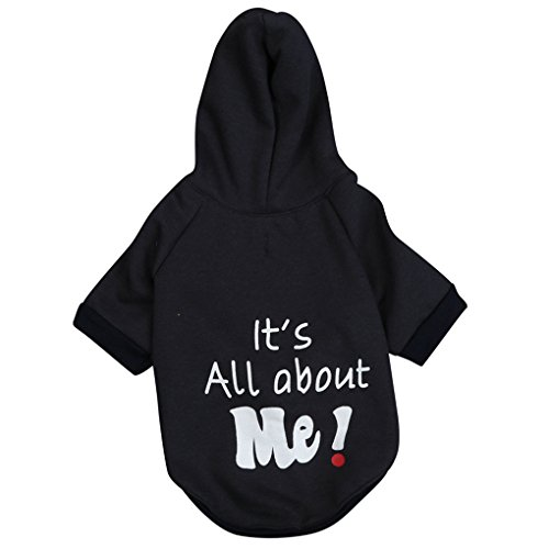 haoricu Pet Shirt, Winter Puppy It's All About Me Letter Print Soft Dogs Coat for Small Dogs Jumpsuit (L, Black)