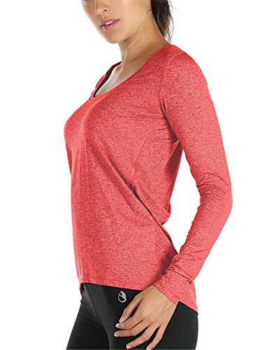 icyzone Damen Laufshirt Langarm Sport Shirt Funktionsshirt - Atmungsaktive Shirt Longsleeve Tops Fitness Workout Oberteil mit Daumenloch (L, Orange)