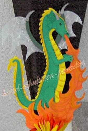 Generisch Bastelanleitung feuerspeiender Drache grün (nur Motiv)