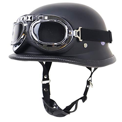 MTTKTTBD Motorrad Halbhelme Brain-Cap · Halbschale Motorrad-Helm Jet-Helm Roller-Helm Scooter-Helm Mofa-Helm Retro Harley Motorrad Half Helm mit Built-in Visier für Cruiser Chopper Biker