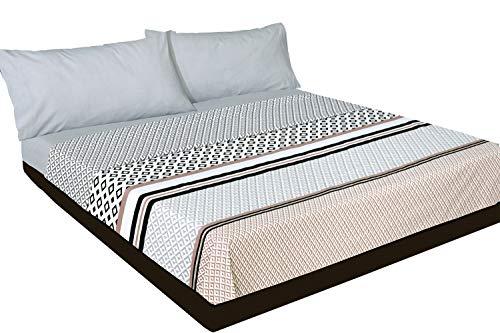 Juego de sábanas Estampado geométrico Gris Algodón 100% (Luxor - para Cama de 135x190/200)