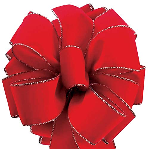 Velvet Christmas Ribbon Red Wired 50 Yards / 2.5 (2 1/2) Inch Wide with Gold Trim Wire-Edge: Xmas Gift Wrap, Christmas Tree Bows/Winter Wedding/Valentine Ribbons for Crafts & Gifts