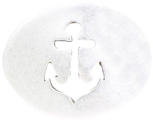 Brazil Lederwaren Gürtelschnalle Anker 4,0 cm | Buckle Wechselschließe Gürtelschließe 40mm Massiv | Wechselgürtel bis 4cm | Altsilber