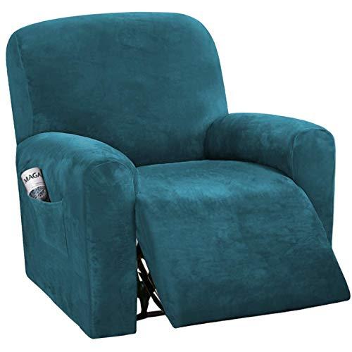 NOPEXTO Sesselbezug Stretch Samt, Sesselschoner Für Relaxsessel, Sesselüberwürfe Bezug Für Fernsehsessel Liege Sessel (Tiefes Wasser Blau)