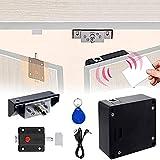 Cerradura electrónica del gabinete, Smart NFC RFID Locks, cerraduras ocultas del gabinete con cierre deslizante para doble puerta, armario, cajón de madera (soporte Android)