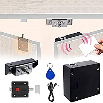 Electronic RFID Cabinet Locks Hidden DIY Cabinet Locks with Slide Latch Lock for Double Door Cabinet Locker Drawer Wooden Cupboard