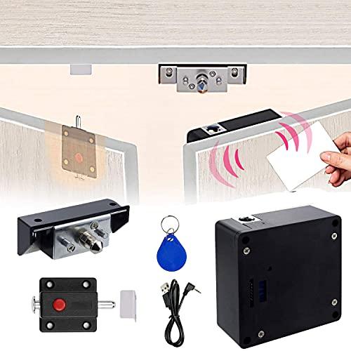 CODACE Cerradura electrónica para armario con cable USB, compatible con NFC, cierre deslizante para armario de puerta doble, cerradura de cajón RFID oculta, para armario de madera