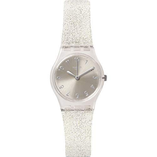 Swatch Damen Analog Quarz Uhr mit Silikon Armband LK343E