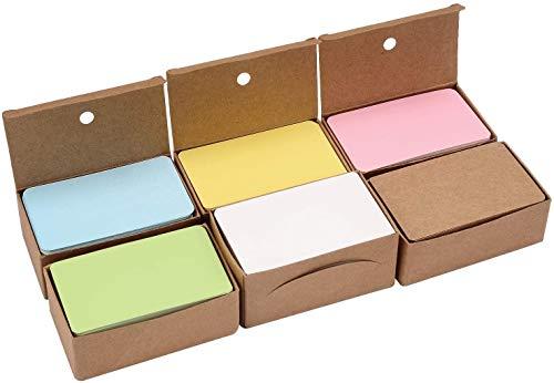 600 Piezas Tarjetas De Papel Kraft, 6 Colores Tarjeta De Mensaje Kraft En Blanco Cartas De Negocios Tarjeta De Vocabulario Fichas Tarjetas De Etiquetas De Regalo De Bricolaje