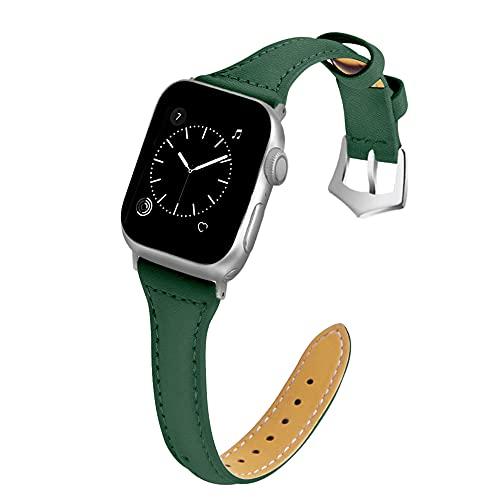 CHENPENG Bandas de Cuero compatibles con Apple Watch, Correa Fina de Cuero para Mujer, Correa de Repuesto, Pulsera de Repuesto Fina,C,38mm