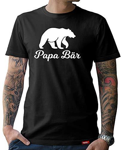 HARIZ Herren T-Shirt Papa Collection 36 Designs Wählbar Schwarz Vatertag Weihnachten Männer Geschenk Karte Urkunde Papa03 Papa Bär L