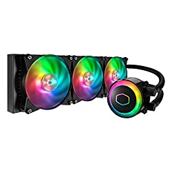 small size Cooler Master MasterLiquid ML360R ARGB AIO CPU Liquid cooler with closed loop control, 360 cooler, double pump, addressable RGB lighting, two MF120R fans for AMD Ryzen / Intel LGA1200 / 1151