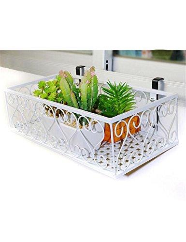 LX étagère à fleurs Couvre-mur en fer forgé européen Cache-pot en pot pour balcon, Store-rideau suspendu Rack de rangement Support de pots intérieur extéri (Couleur : Blanc, taille : 50 * 20cm)