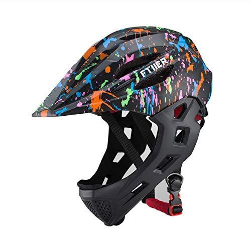 linfei Casco da Ciclismo MTB Fullface per Casco da Bici per Bambini Casco da Mountain Bike Fuoristrada Sicuro con Visiera 49-53 Cm C