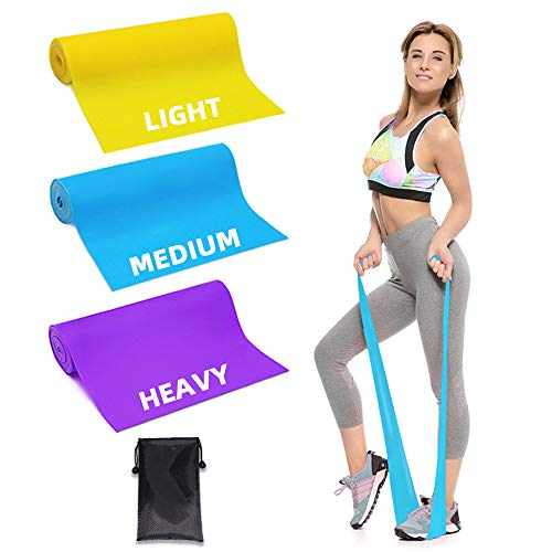 Trongle Lambony Bande Elastiche Fitness, 3 Livelli di Resistenza per Fisioterapia, Pilates, Yoga, Niabilitazione, Stretching, Fitness, Allenamento della Forza