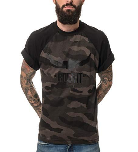 ROCK-IT Apparel® Hombres Negro Logo Camuflaje Raglan Camiseta de Manga Corta Cuello Redondo 100% Algodón Tallas S-5XL Color Camuflaje Oscuro XXL