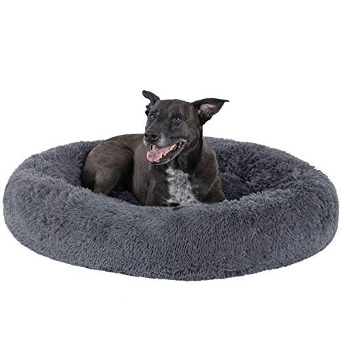 GM PET SUPPLIES Luxurious Orthopedic Dog Bed | Fluffy Lightweight Bedding Pads for Dogs & Cats | Made from Ultra-Comfortable Faux Fur with an Anti-Slip Bottom (Large 36, Blue-Grey)