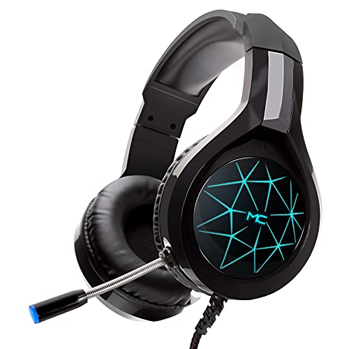 Gaming Headset for PC, PS4, PS5, Xbox One, HD Stereo Surround Sound Over Ear Headphones with Noise Cancelling Mic, LED Light, Soft Memory Earmuffs for Computer, Laptop, Mac, Tablet, Nintendo