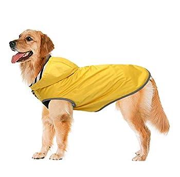Geyecete Manteau imperméable pour chien avec capuche et trou de col et bandes réfléchissantes sûres, ultra léger et respirant pour chiens de taille moyenne et grande - Jaune - S