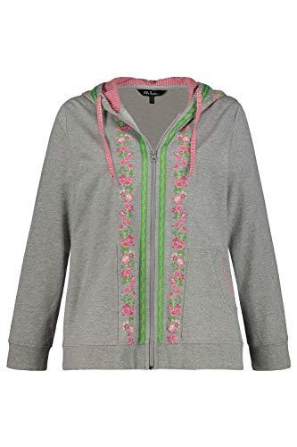 Ulla Popken Damen große Größen Sweatjacke, Trachten-Look, Karo/Zierband, Langarm grau-Melange 46+ 723519 12-46+