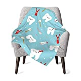 Dental Fabric Happy Teeth Friends Blue Baby Blanket Super Soft with Double Layer Dotted Backing Arrows Printed 30 X 40 Inch Newborn Receiving Blankets